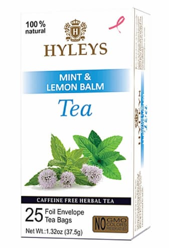 Hyleys Mint & Lemon Balm Herbal Tea Perspective: front