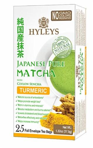 Hyleys Japanese Pure Matcha Tea with Turmeric Ceylon Sencha Perspective: front