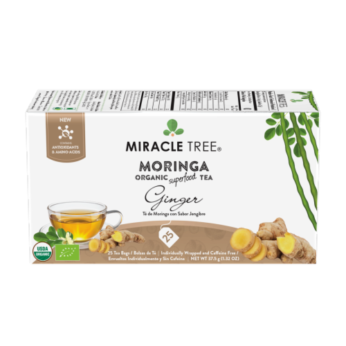 Miracle Tree Organic Moringa Ginger Tea Perspective: front