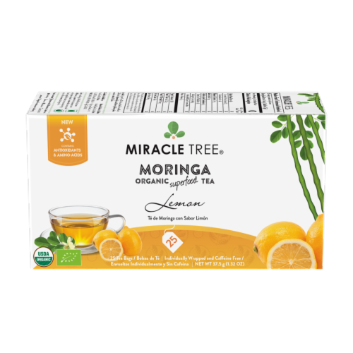 Miracle Tree Organic Moringa Lemon Tea Perspective: front