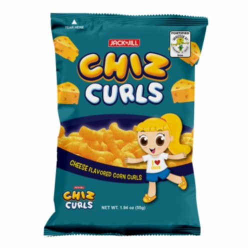 Jack 'n Jill Chiz Curls Cheese Flavored Corn Curls Perspective: front