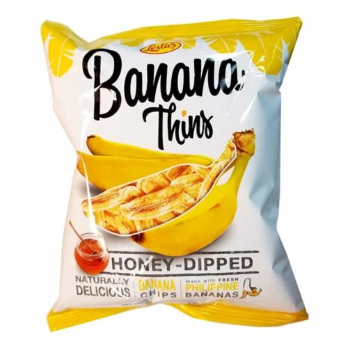 Leslie's Banana Thins Honey-Dipped Banana Chips Perspective: front