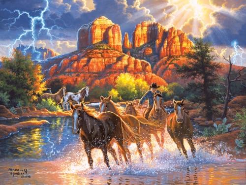 CRA-Z-ART Kodak Abraham Hunter Mountain Horses Puzzle Perspective: front