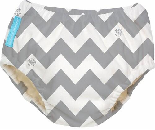 Charlie Banana Reusable Swim Diaper Medium - Grey Chevron Perspective: front