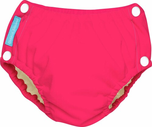 Charlie Banana Reusable Easy Snaps Swim Diaper Medium - Florescent Hot Pink Perspective: front
