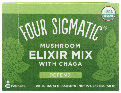 Four Sigmatic Defend Mushroom Elixir Mix with Chaga Packets Perspective: front