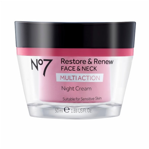 No7 Restore & Renew Face & Neck Multi Action Night Cream Perspective: front