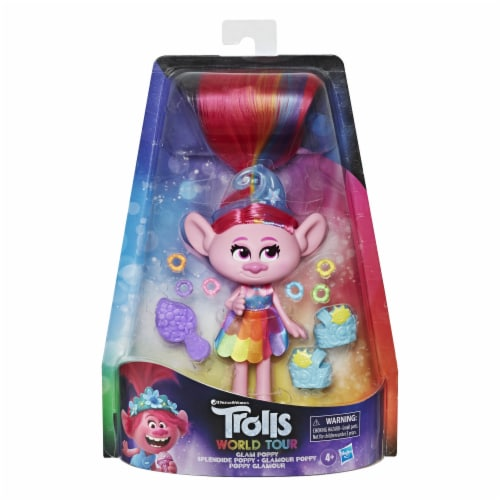 Hasbro Trolls World Tour Glam Poppy Doll Perspective: front