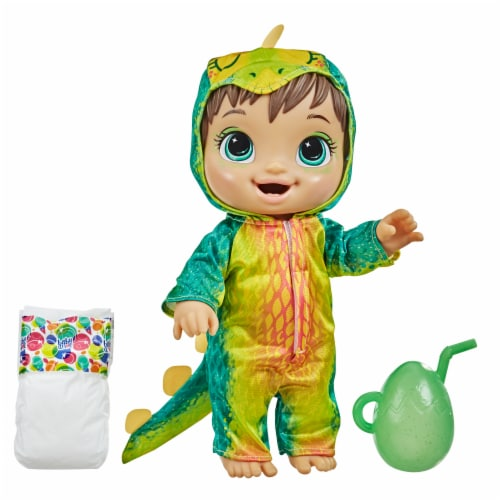 Hasbro Baby Alive Dino Cuties Doll -Brown Hair Perspective: front