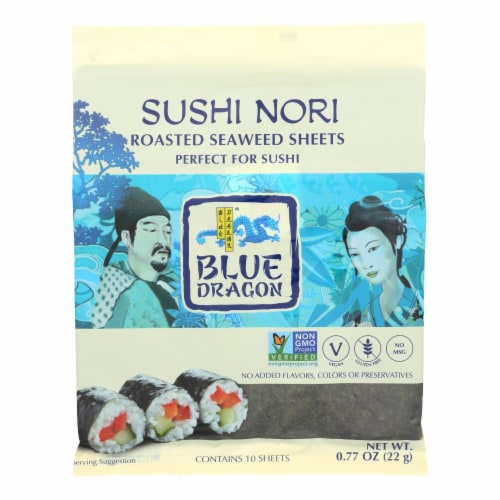 Blue Dragon Sushi Nori  - Case of 10 - .77 OZ Perspective: front