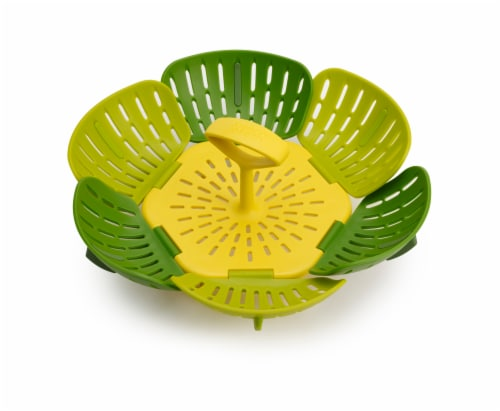 Joseph Joseph Bloom Folding Steamer Basket - Green/Yellow Perspective: front