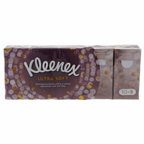 Kleenex Skin Facial Tissues, Ultra Soft and Gentle 10 Pocket Packs of 10 each Perspective: front