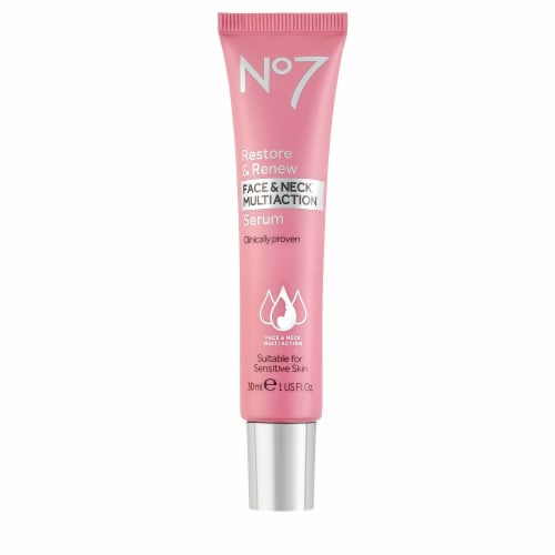 NO7 Restore Renew Face and Neck Multi Action Serum Perspective: front