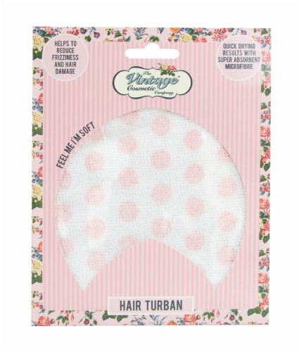 The Vintage Cosmetic Company Pink Polka Dot Hair Turban Perspective: front