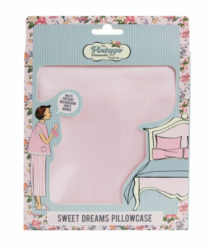 The Vintage Cosmetic Company Sweet Dreams Pillowcase - Pink Perspective: front