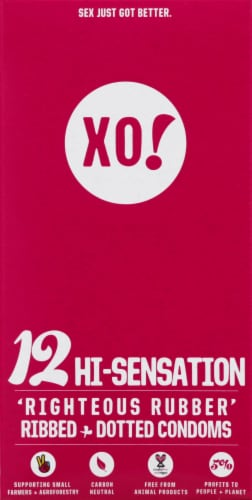 XO! Hi-Sensation Ribbed + Dotted Condoms Perspective: front