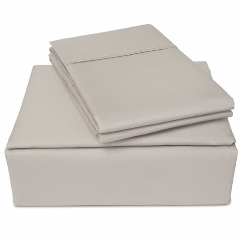 Clean Zzz's Antimicrobial Sheet Set - Light Gray Perspective: front