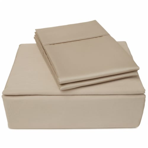 Clean Zzz's Antimicrobial Sheet Set - Tan Perspective: front