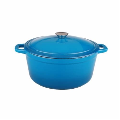 BergHOFF Neo Cast Iron Oval Casserole Dish - Blue Perspective: front