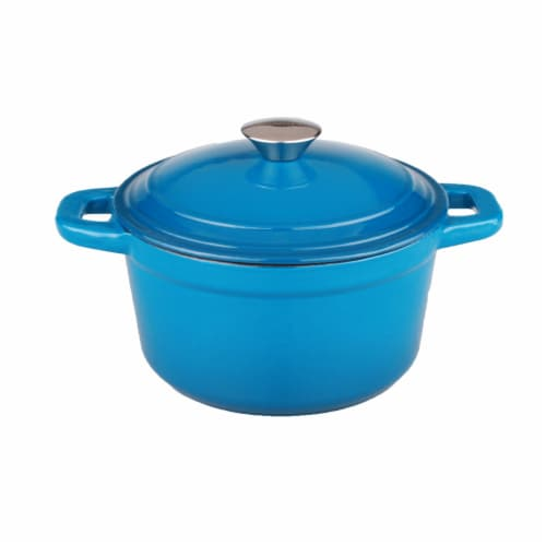 BergHOFF Neo Cast Iron Round Casserole Dish - Blue Perspective: front