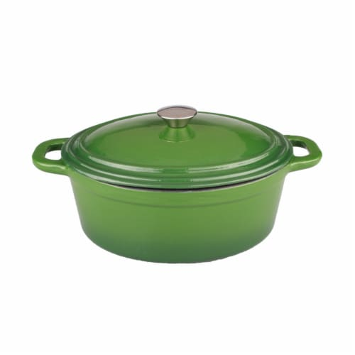 BergHOFF Neo Cast Iron Oval Casserole - Green Perspective: front