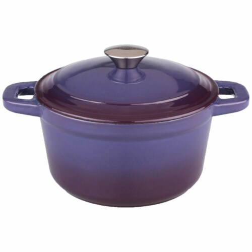 BergHOFF Neo Cast Iron Round Covered Casserole - Purple Perspective: front