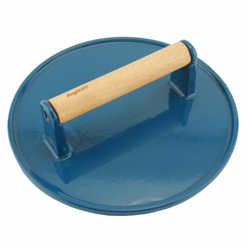BergHOFF Cast Iron Steak Press - Blue Perspective: front