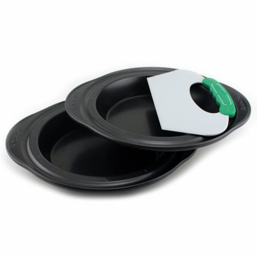 BergHOFF Perfect Slice Pie Pans with Tool - Black/Green Perspective: front