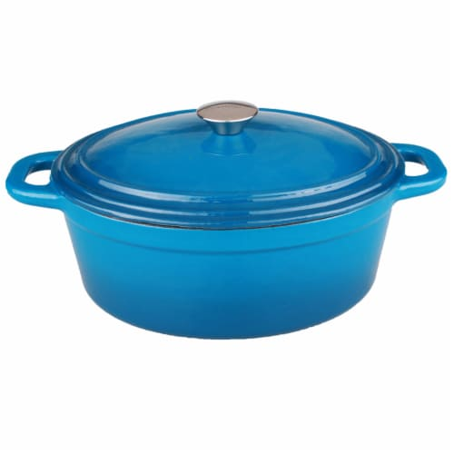 BergHOFF Neo Oval Cast Iron Casserole Dish - Blue Perspective: front