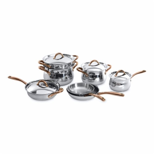 BergHOFF Stainless Steel Cookware Set with Rose Gold Handles Perspective: front