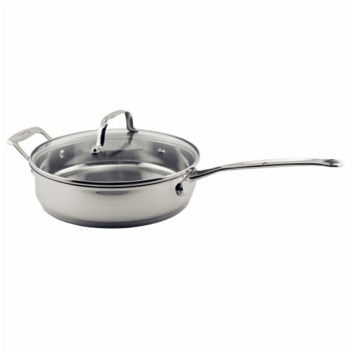 BergHOFF EarthChef Stainless Steel Covered Deep Skillet Perspective: front