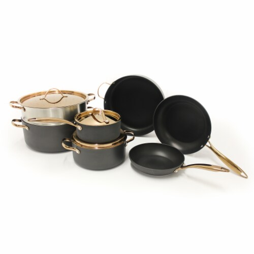 BerfHoff Worldwide Hard Anodized Chef's Set - Black/Rose Gold Perspective: front