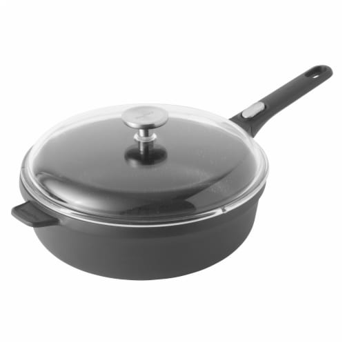BergHOFF Cast Aluminum Saute Pan with Cover - Black Perspective: front