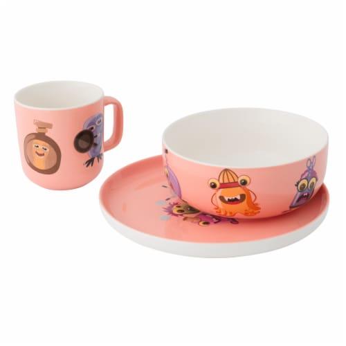 BergHOFF Essentials MonsterChefz Porcelain Dinnerware Set - Pink Perspective: front