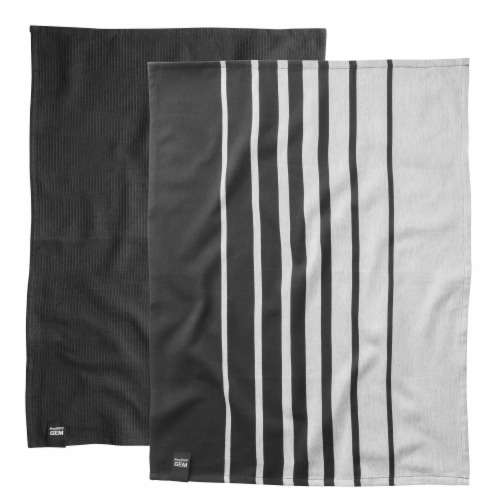BergHOFF Gem Kitchen Towel Set - Black/White Perspective: front