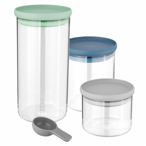 BergHOFF Leo Glass Food Container Set - Green/Blue/Gray Perspective: front