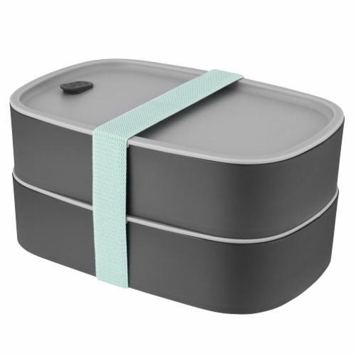 BergHOFF Leo Dual Bento Box Set with Strap - Gray/Mint Perspective: front