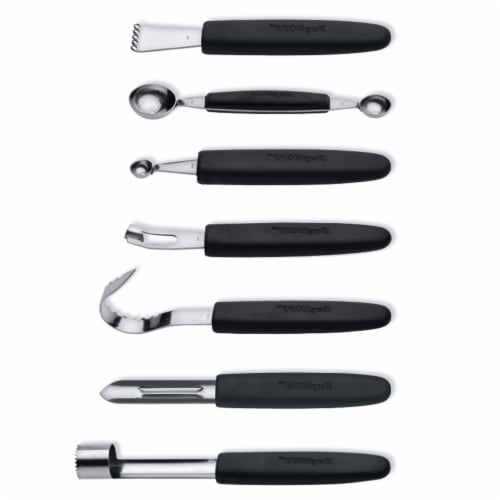 BergHOFF Essentials Stainless Steel Garnishing Tool Set & Case - Black/Silver Perspective: front