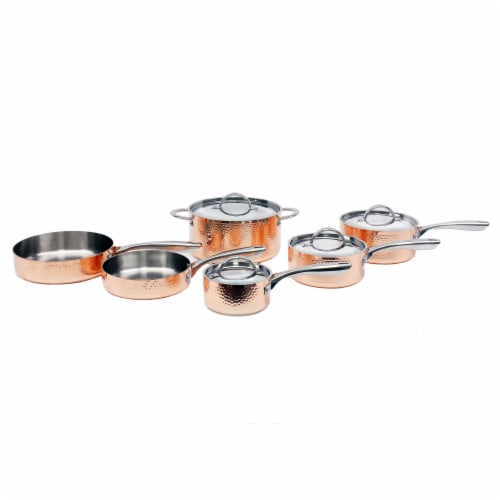 BergHOFF Tri-Ply Cookware Set - Hammered Copper Perspective: front