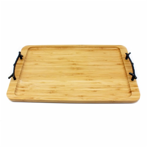 BergHOFF Bamboo Tray with Wrought Iron Handles Perspective: front