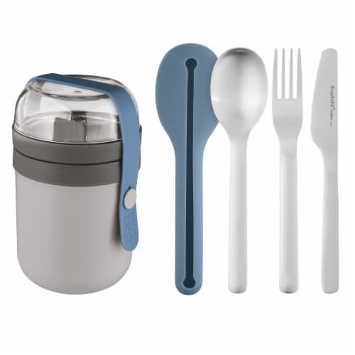 BigHOFF Leo To-Go Dual Lunch Box and Flatware Set - Grey & Blue Perspective: front