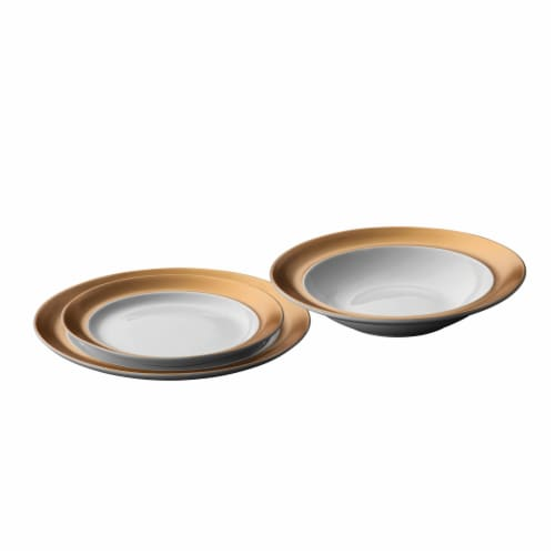 BergHOFF Gem Plate Set - White/Gold Perspective: front