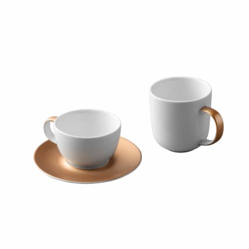BergHOFF Gem Coffee and Tea Set - White/Gold Perspective: front