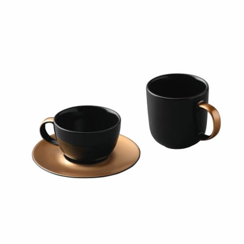 BergHOFF Gem Coffee and Tea Set - Black/Gold Perspective: front