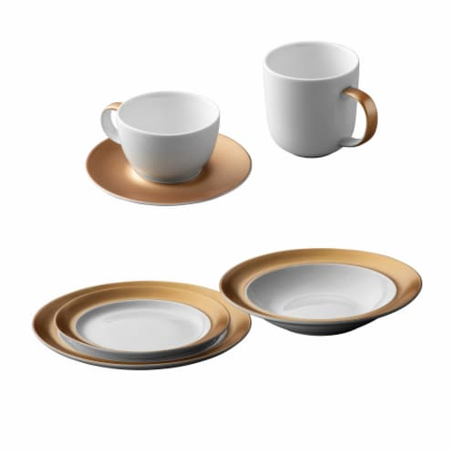 BergHOFF Gem Dinnerware Place Setting - White/Gold Perspective: front