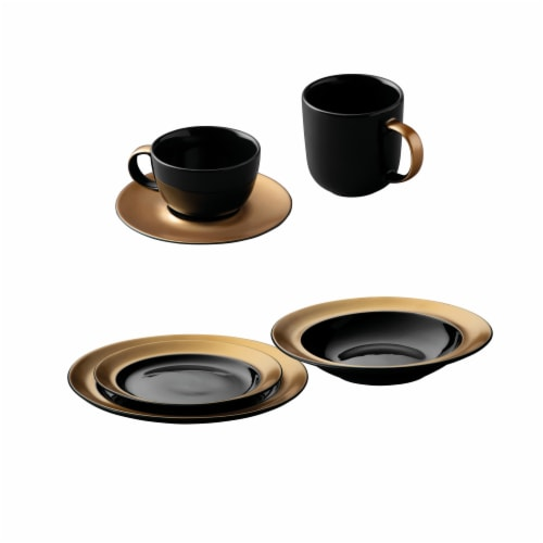 BergHOFF Gem Dinnerware Place Setting - Black/Gold Perspective: front