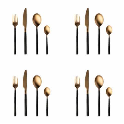 BergHOFF Gem Plated Flatware Set - Black/Gold Perspective: front