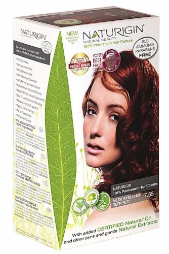 Naturigin  Permament Hair Color Medium Blonde Deep Red 7.55 Perspective: front