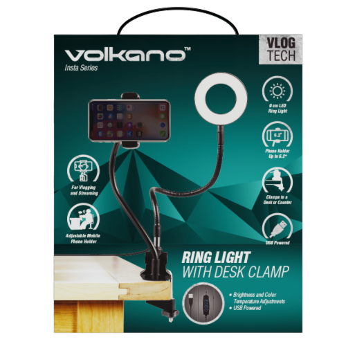 Volkano Insta Series Ring Light Phone Holder with Desk Clamp Perspective: front