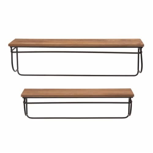 Glitzhome Farmhouse Metal/Wooden Decorative Wall Shelves Perspective: front